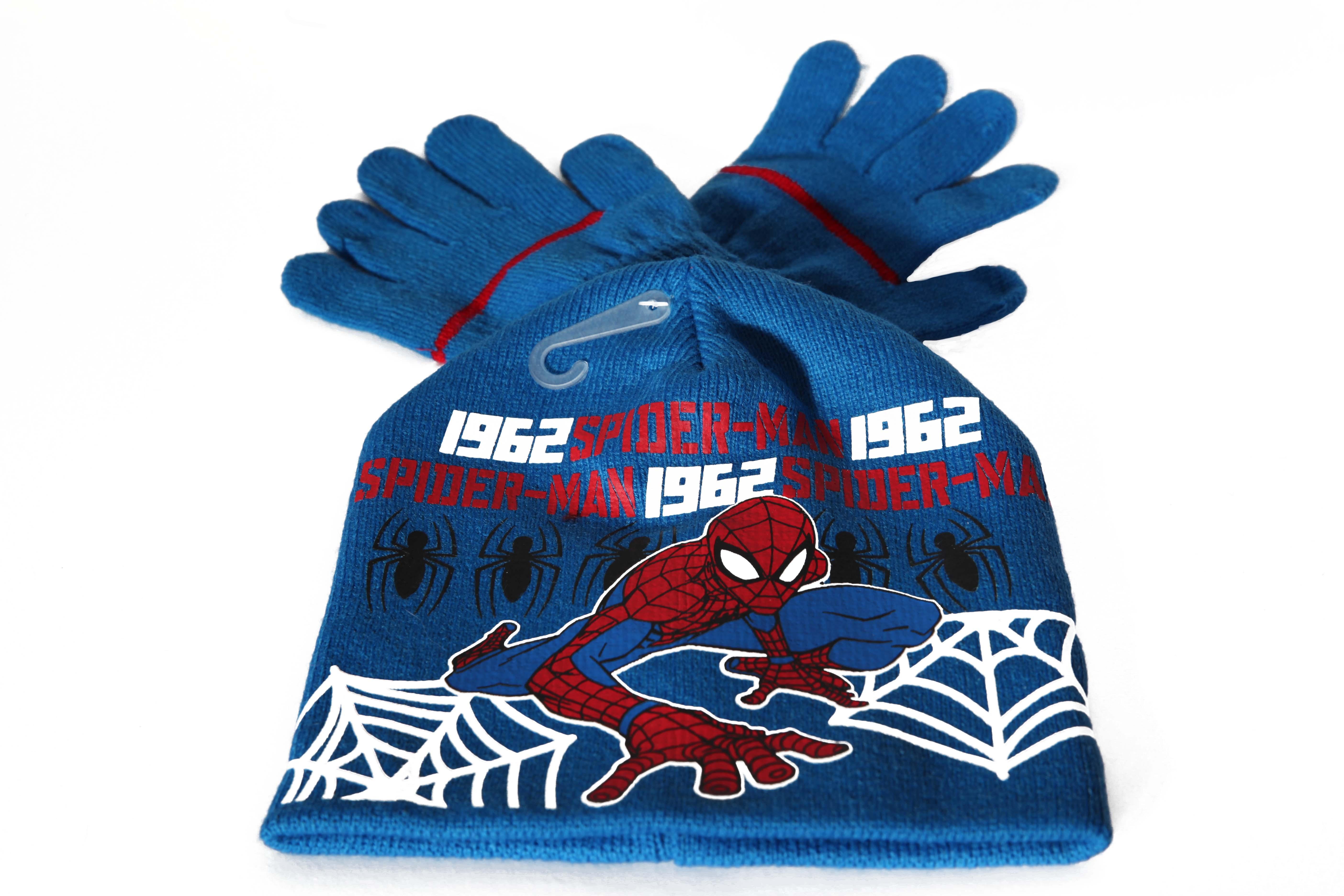 Set caciula+manusi Spiderman, albastru 54 cm 0